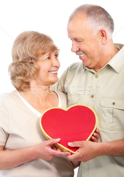 Stock foto: ältere · Paar · glücklich · Liebe · isoliert · weiß
