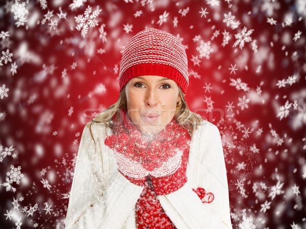Stok fotoğraf: Mutlu · Noel · kadın · kış · giyim · kız