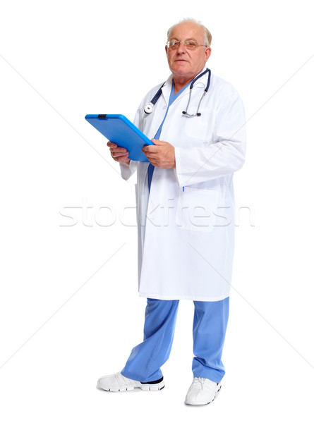 Elderly hospital doctor with clipboard. Stock photo © Kurhan