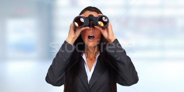 Mulher de negócios binóculo escritório negócio olho estudar Foto stock © Kurhan