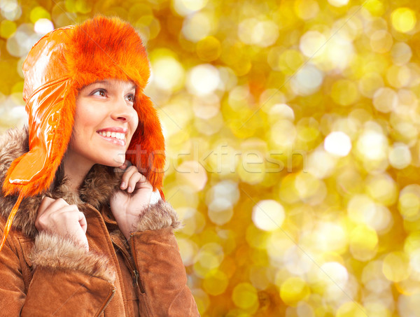 Young woman in winter hat. Stock photo © Kurhan
