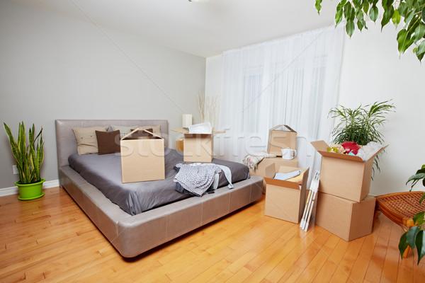 Költözködő dobozok új ház ingatlan ház otthon doboz Stock fotó © Kurhan