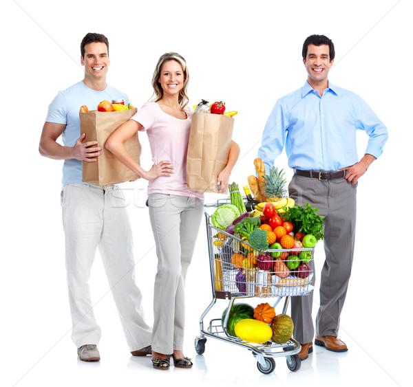 Boldog emberek bevásárlókocsi vásárlás élelmiszer kosár izolált Stock fotó © Kurhan