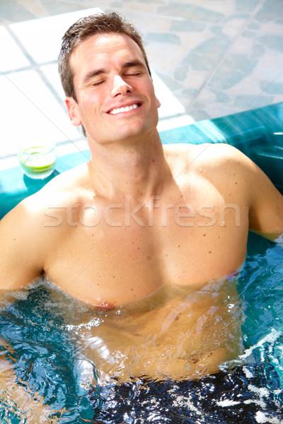 男 ジャグジー スパ リラックス 笑顔 ボディ ストックフォト © Kurhan