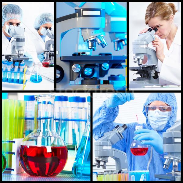 Сток-фото: научный · коллаж · медицинской · исследований · женщину · работу