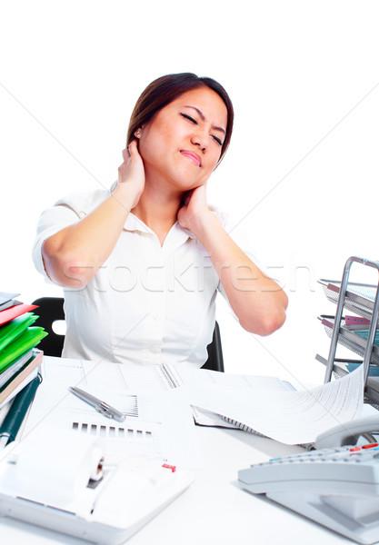 Jóvenes mujer de negocios dolor de cuello Asia mujer de negocios estrés Foto stock © Kurhan