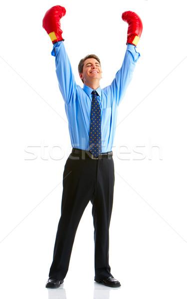 üzletember jóképű boxoló izolált fehér üzlet Stock fotó © Kurhan