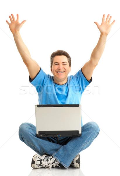 happy man with laptop Stock photo © Kurhan
