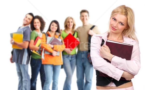 Diákok csoport mosolyog fehér férfi diák Stock fotó © Kurhan