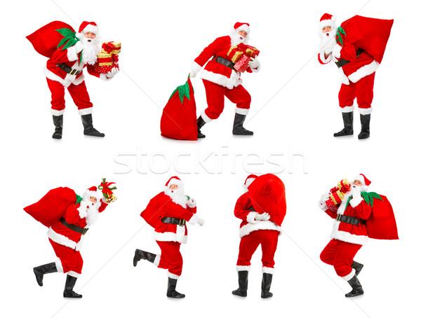 Foto stock: Natal · feliz · isolado · branco · festa