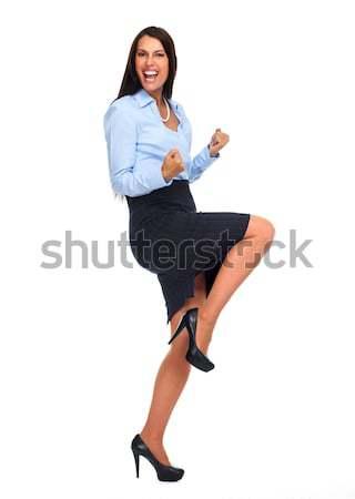 Foto stock: Feliz · mujer · de · negocios · excitado · aislado · blanco · mujer