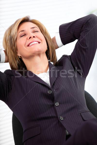 расслабляющая деловой женщины красивой зрелый современных служба Сток-фото © Kurhan