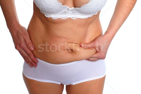 Mujer grasa vientre sobrepeso cuerpo Foto stock © Kurhan