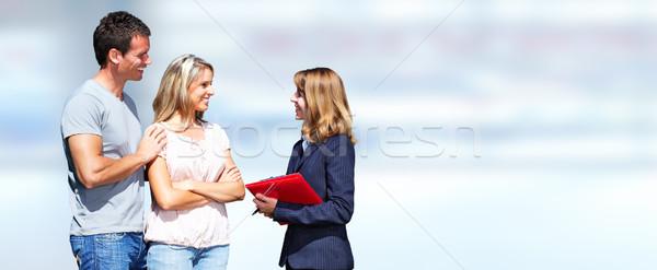 Ingatlanügynök nő ügyfelek pár kék üzlet Stock fotó © Kurhan