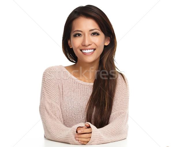 Gyönyörű ázsiai lány nő izolált fehér Stock fotó © Kurhan