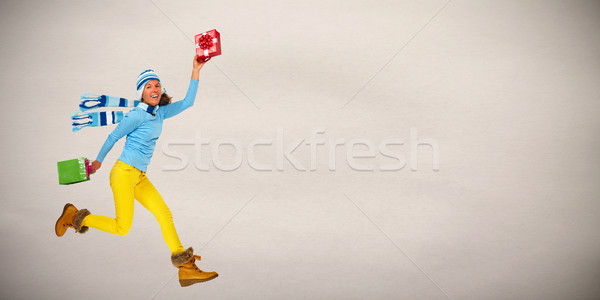Happy woman with gifts Stock photo © Kurhan