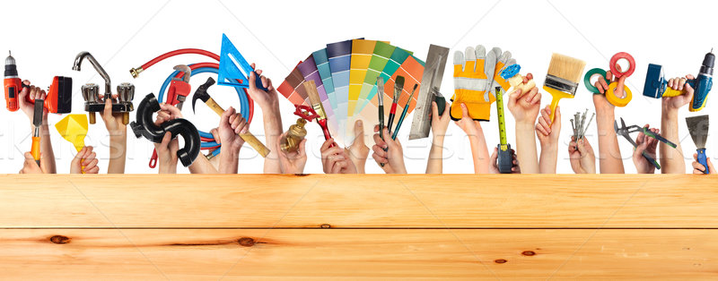 Hands with DIY tools. Stock photo © Kurhan