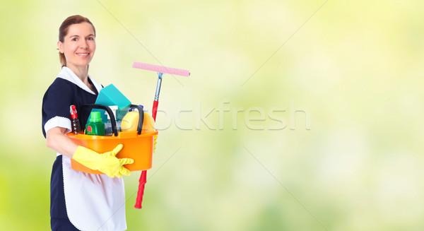Fiatal gyönyörű szobalány mosolyog ház takarítás Stock fotó © Kurhan