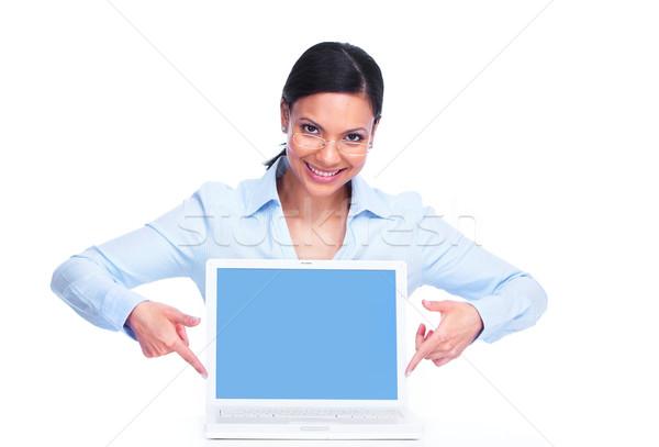 Stok fotoğraf: Kadın · dizüstü · bilgisayar · genç · iş · kadını · yalıtılmış · beyaz