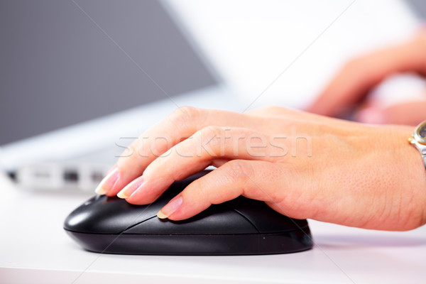 стороны Компьютерная мышь бизнеса технологий женщину человека Сток-фото © Kurhan