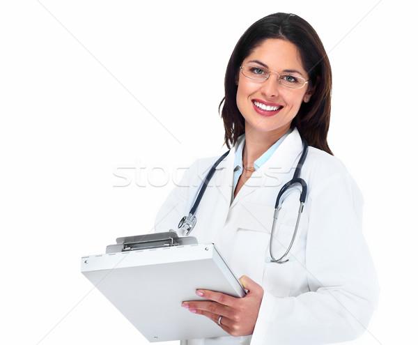 Сток-фото: врач · женщину · медицинской · изолированный · белый · бизнеса
