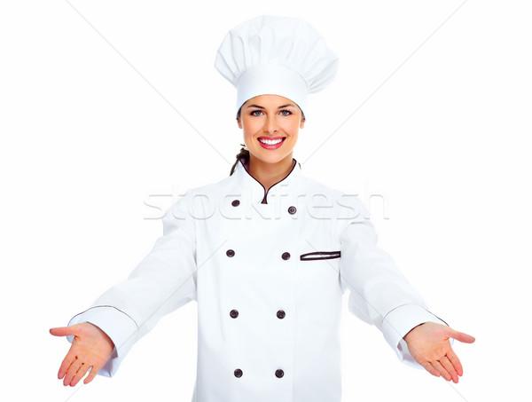 シェフ 女性 孤立した 白 手 食品 ストックフォト © Kurhan