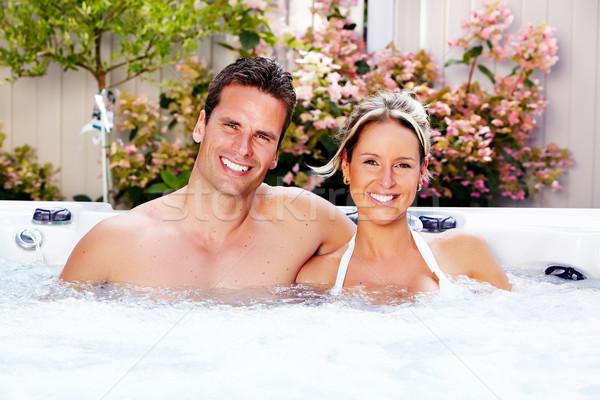 Szczęśliwy para jacuzzi relaks hot tub wakacje Zdjęcia stock © Kurhan