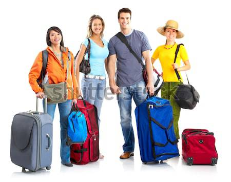 Turista pessoas feliz isolado branco mulher Foto stock © Kurhan
