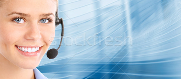 Call Center Helpdesk schönen business woman Headset Stock foto © Kurhan