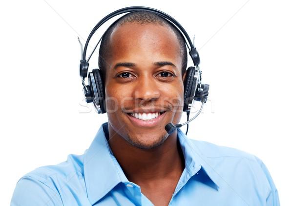 Afroamerikai férfi izolált fehér arc technológia Stock fotó © Kurhan
