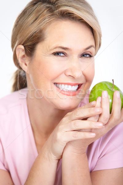 Stok fotoğraf: Kadın · elma · olgun · gülümseyen · kadın · elma · gıda