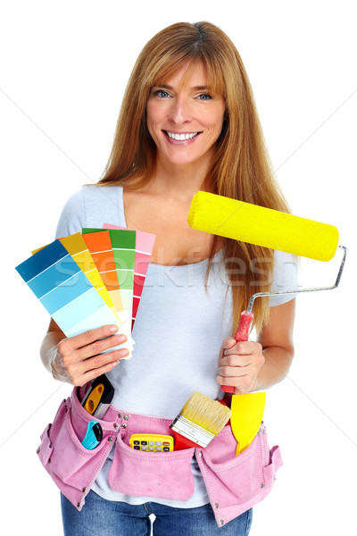 Woman with a painting roller. Stock photo © Kurhan