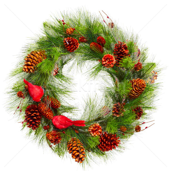 Natal grinalda decorativo ornamento isolado branco Foto stock © Kurhan