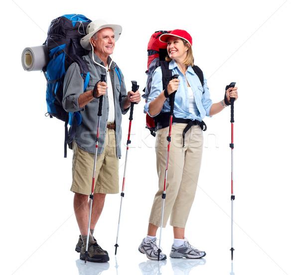 Turista casal de idosos caminhadas isolado branco homem Foto stock © Kurhan
