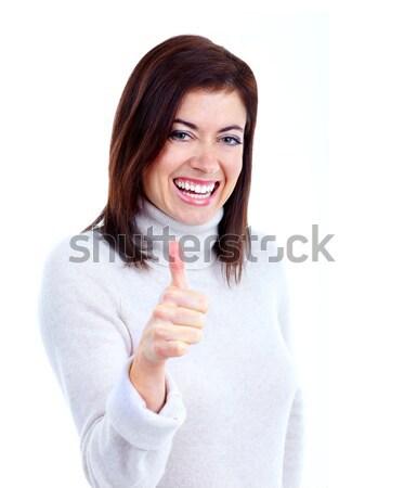 Stockfoto: Gelukkig · vrouw · jonge · mooie · vrouw · geïsoleerd · witte