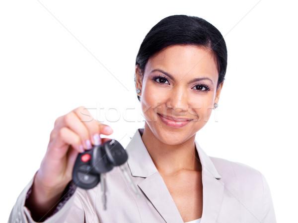 Stockfoto: Vrouw · rijden · geïsoleerd · witte · meisje