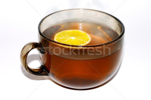 Copo chá quente limão fruto laranja Foto stock © Kurhan