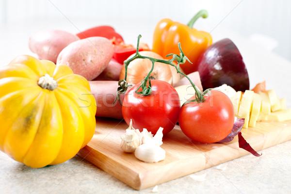 кухне приготовления картофеля ножом разделочная доска таблице Сток-фото © Kurhan