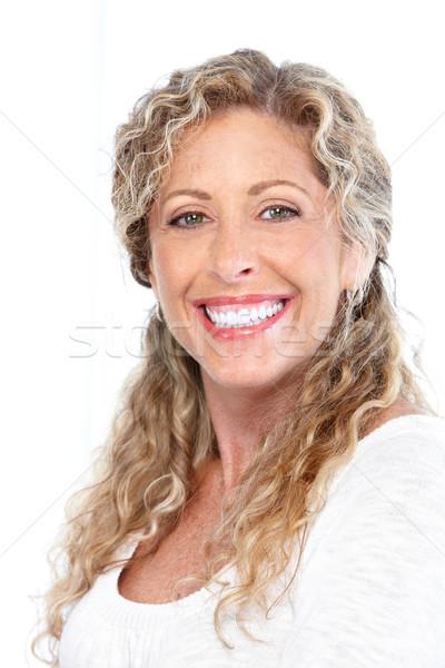 Foto d'archivio: Donna · sorridente · felice · isolato · bianco · donna