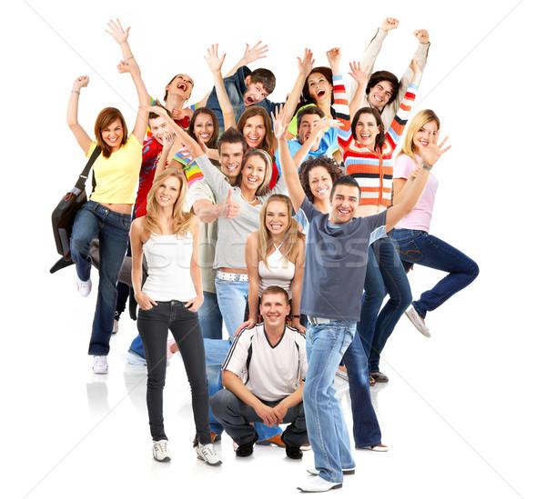 счастливые люди счастливым смешные люди изолированный белый Сток-фото © Kurhan