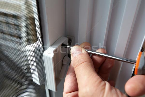 Door lock installation. Stock photo © Kurhan