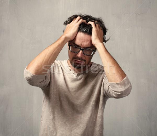 головная боль депрессия человека серый стены лице Сток-фото © Kurhan
