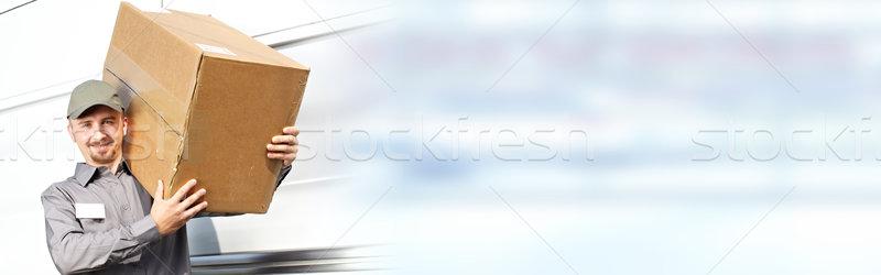 Stock foto: Lieferung · Briefträger · Feld · professionelle · Paket · um