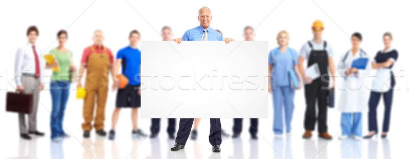 Foto d'archivio: Uomini · d'affari · squadra · grande · gruppo · giovani · sorridere · bianco