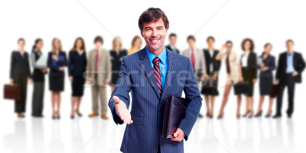 ビジネスチーム 笑みを浮かべて 優しい ビジネスマン 孤立した 白 ストックフォト © Kurhan