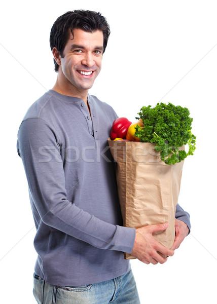男 ハンサム 笑みを浮かべて 野菜 孤立した 白 ストックフォト © Kurhan