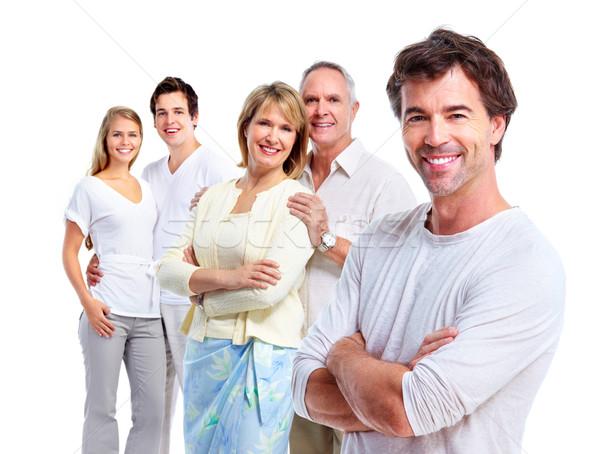 Boldog emberek izolált fehér nő család gyerekek Stock fotó © Kurhan
