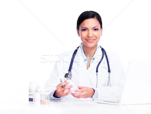 ストックフォト: 医師 · 女性 · 孤立した · 白 · ビジネス · 作業