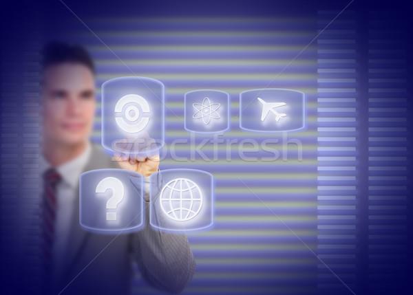 Stockfoto: Zakenman · aanraken · holografische · scherm · technologie · internet