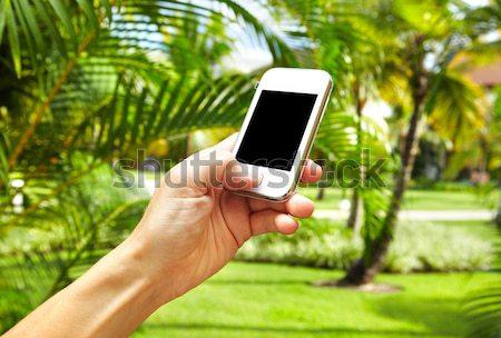 Kobieta smartphone tropikalnych ogród wakacje komputera Zdjęcia stock © Kurhan